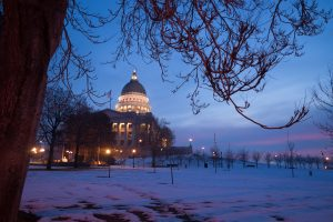 Utah State Capital building in the evening