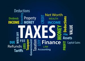 Tag cloud around the word TAXES including income, deductions, credit, network, wealth, money and refunds.