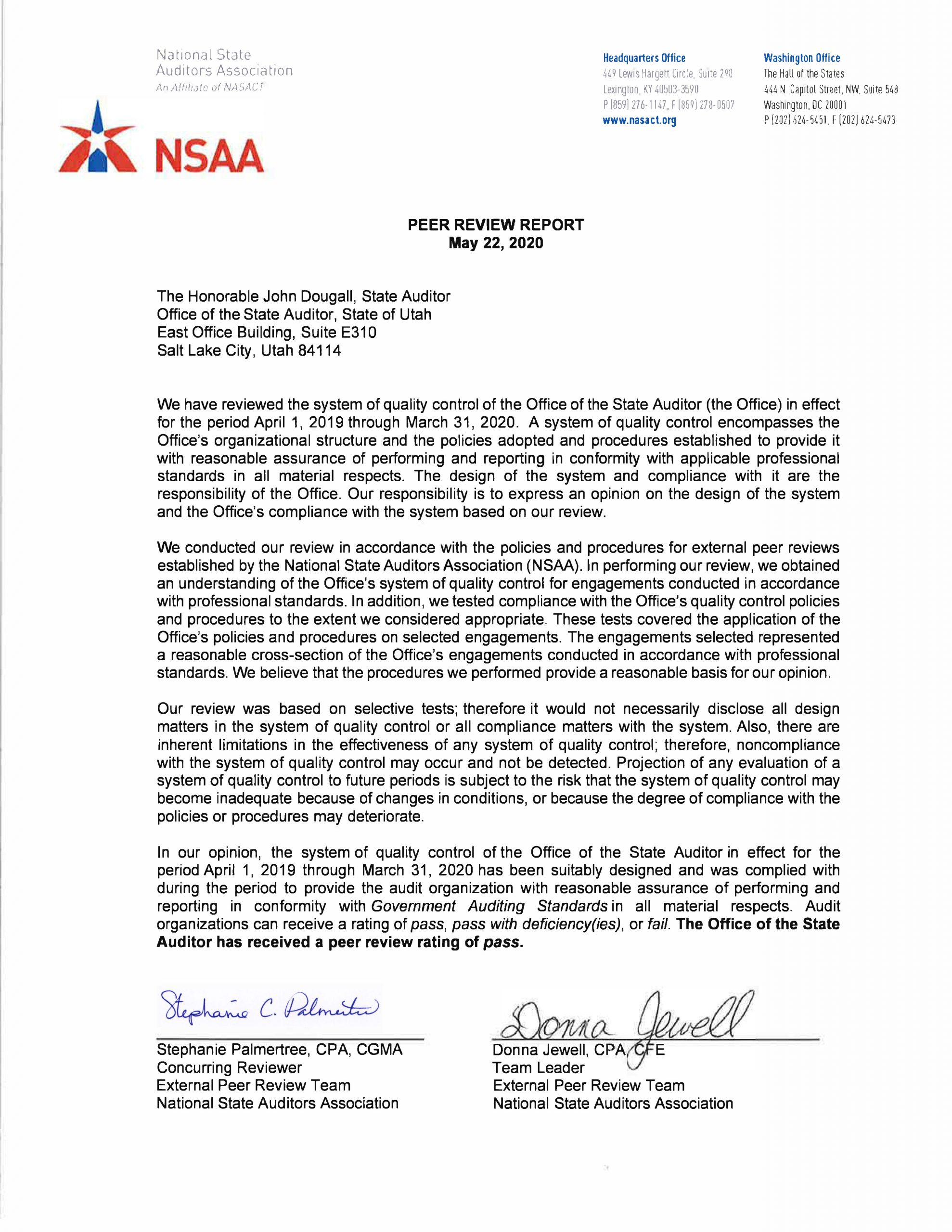 Letter from the National State Auditors Association OSA Peer Review 2020 05 22